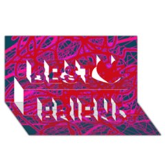 Red neon Best Friends 3D Greeting Card (8x4)