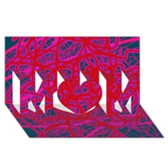 Red neon MOM 3D Greeting Card (8x4)