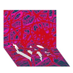 Red Neon Love Bottom 3d Greeting Card (7x5)