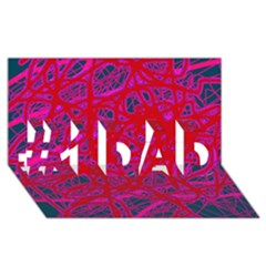 Red neon #1 DAD 3D Greeting Card (8x4)