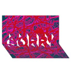 Red neon SORRY 3D Greeting Card (8x4)