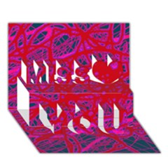 Red neon Miss You 3D Greeting Card (7x5)