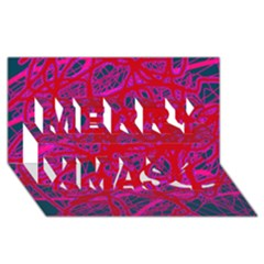Red neon Merry Xmas 3D Greeting Card (8x4)