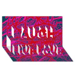 Red neon Laugh Live Love 3D Greeting Card (8x4)