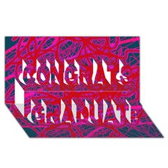 Red neon Congrats Graduate 3D Greeting Card (8x4)
