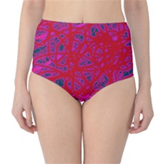 Red neon High-Waist Bikini Bottoms