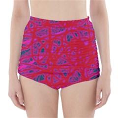 Red neon High-Waisted Bikini Bottoms