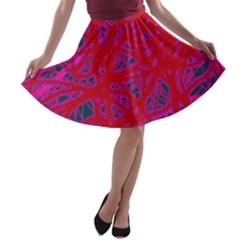 Red neon A-line Skater Skirt