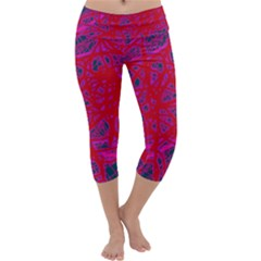 Red neon Capri Yoga Leggings
