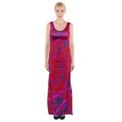 Red neon Maxi Thigh Split Dress