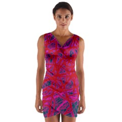Red neon Wrap Front Bodycon Dress