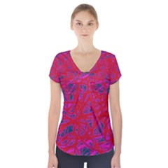 Red Neon Short Sleeve Front Detail Top