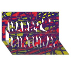 Abstract high art Happy Birthday 3D Greeting Card (8x4)