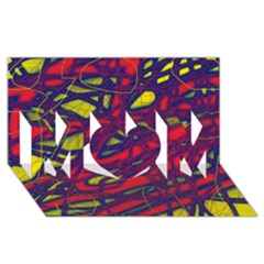 Abstract high art MOM 3D Greeting Card (8x4)