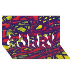 Abstract high art SORRY 3D Greeting Card (8x4)