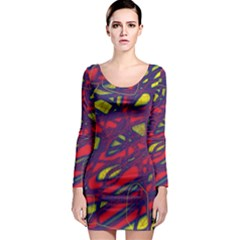 Abstract high art Long Sleeve Bodycon Dress