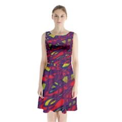 Abstract high art Sleeveless Chiffon Waist Tie Dress