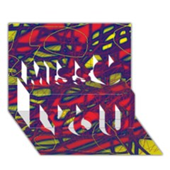 Abstract high art Miss You 3D Greeting Card (7x5)