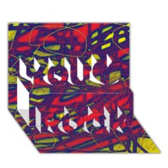 Abstract high art You Rock 3D Greeting Card (7x5)
