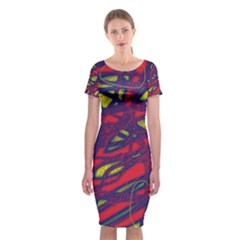Abstract High Art Classic Short Sleeve Midi Dress
