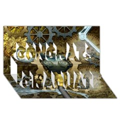 Steampunk, Awesome Owls With Clocks And Gears Congrats Graduate 3d Greeting Card (8x4)