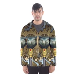 Steampunk, Awesome Owls With Clocks And Gears Hooded Wind Breaker (Men)