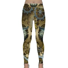 Steampunk, Awesome Owls With Clocks And Gears Yoga Leggings