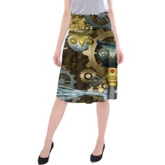 Steampunk, Awesome Owls With Clocks And Gears Midi Beach Skirt