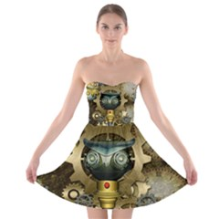 Steampunk, Awesome Owls With Clocks And Gears Strapless Dresses