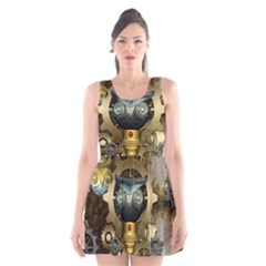 Steampunk, Awesome Owls With Clocks And Gears Scoop Neck Skater Dress