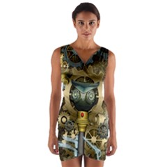 Steampunk, Awesome Owls With Clocks And Gears Wrap Front Bodycon Dress