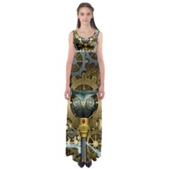 Steampunk, Awesome Owls With Clocks And Gears Empire Waist Maxi Dress