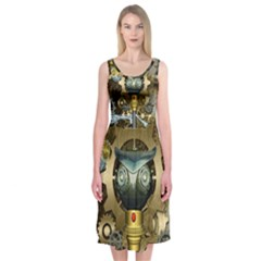 Steampunk, Awesome Owls With Clocks And Gears Midi Sleeveless Dress