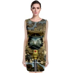 Steampunk, Awesome Owls With Clocks And Gears Classic Sleeveless Midi Dress