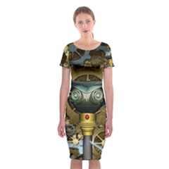 Steampunk, Awesome Owls With Clocks And Gears Classic Short Sleeve Midi Dress