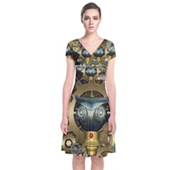 Steampunk, Awesome Owls With Clocks And Gears Short Sleeve Front Wrap Dress