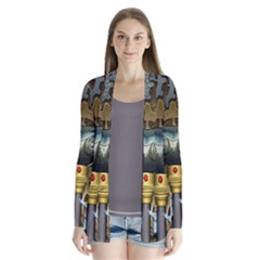 Steampunk, Awesome Owls With Clocks And Gears Drape Collar Cardigan