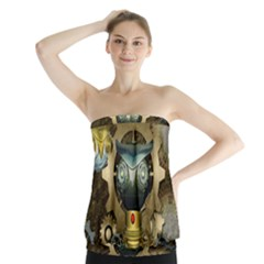 Steampunk, Awesome Owls With Clocks And Gears Strapless Top