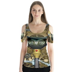 Steampunk, Awesome Owls With Clocks And Gears Butterfly Sleeve Cutout Tee