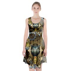 Steampunk, Awesome Owls With Clocks And Gears Racerback Midi Dress
