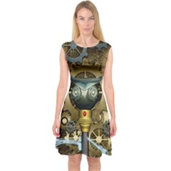 Steampunk, Awesome Owls With Clocks And Gears Capsleeve Midi Dress