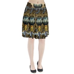 Steampunk, Awesome Owls With Clocks And Gears Pleated Skirt