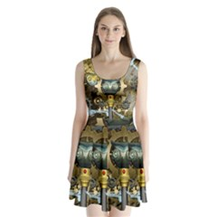 Steampunk, Awesome Owls With Clocks And Gears Split Back Mini Dress