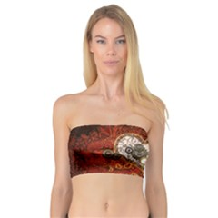 Steampunk, Wonderful Heart With Clocks And Gears On Red Background Bandeau Top