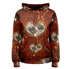 Steampunk, Wonderful Heart With Clocks And Gears On Red Background Women s Pullover Hoodie