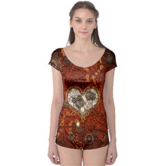 Steampunk, Wonderful Heart With Clocks And Gears On Red Background Boyleg Leotard