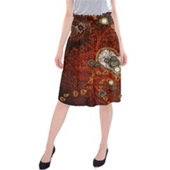 Steampunk, Wonderful Heart With Clocks And Gears On Red Background Midi Beach Skirt