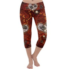 Steampunk, Wonderful Heart With Clocks And Gears On Red Background Capri Yoga Leggings