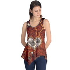 Steampunk, Wonderful Heart With Clocks And Gears On Red Background Sleeveless Tunic