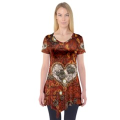 Steampunk, Wonderful Heart With Clocks And Gears On Red Background Short Sleeve Tunic